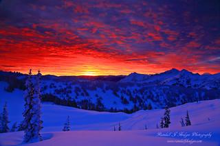 Winter Sunsrise Over The Tatoosh Range From Mt Rainier National Park in Washington