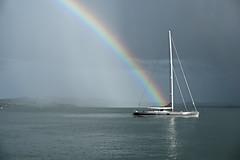 Crossing Rainbow to the Dark Side (Journey CPL) Tags: bayofislands new zealand rainbow reflection sailboat