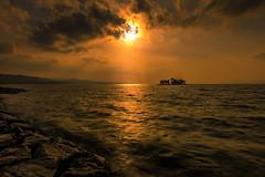 sunset 1275 (junjiaoyama) Tags: japan sunset sky light cloud weather landscape purple orange yellow contrast color bright lake island water nature winter