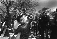 Pillow Man (Brian Gilbreath) Tags: ifttt 500px black white bw film street photography streets streetphotography 35mm people portrait urban monochrome super man child pillow fight washington square park duel documentary journalism