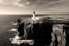 Noss Head Lighthouse, Caithness (iancowe) Tags: noss head lighthouse nossheadlighthouse castle sinclair wick caithness stevenson nlb northernlighthouseboard scotland scottish dji phantom 4 pro aerial drone cliff cliffs clifftop castlesinclairgirnigoe girnigoe bw black white