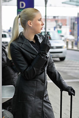 Julia 20 (The Booted Cat) Tags: sexy strict blonde long hair model girl leather gloves smoking cigarette