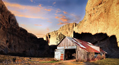 Barn In Canyon (jarr1520) Tags: sky clouds desert sunset rocks barn canyon composite textured