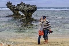 FXT27697 (kevinegng) Tags: japan okinawa 日本 沖繩 heartrock ハートロック couple wefie beach seaside rocks searock cloudysky cloudy