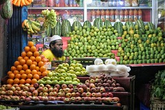 Lost in fruits. (Iftekhar Hasan) Tags: stree street streetphotography streetlife fruits shopkeeper orange green colors stilllife