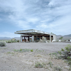 fill 'er up? nye county, nv. 2016. (eyetwist) Tags: eyetwistkevinballuff eyetwist abandoned gasstation nevada beatty mojavedesert mamiya 6mf 50mm kodak portra 160 mamiya6mf mamiya50mmf4l kodakportra160 ishootfilm analog analogue film emulsion mamiya6 square 6x6 mediumformat 120 filmexif iconla epsonv750pro lenstagger ishootkodak mojave desert highdesert landscape roadsideamerica fading weathered derelict lonely bleak graffiti gasoline gas service station servicestation dead typology american west truckstop ruins canopy wilderness nyecounty us95