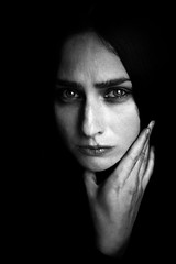 Jone II (.Betina.) Tags: betinalaplante portrait portraiture monochrome mood mono moody dark hand face eyes beauty bb sombre blue