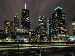 Moody Melbourne (Laith Stevens Photography) Tags: olympus omd olympusau outdoor olympusomd olympusinspired olympusaustralia omdem1mkii goneawol getolympus gloomy city citylights melbourne visitmelbourne victoria visitaustralia 714mm exposure longexposure gotham clear detailed clouds awesome ngc night wide lightstreaks trains cityscape tripod