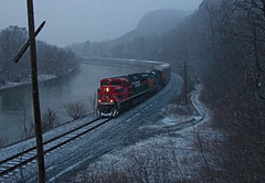 Spring Snow (jc_canon) Tags: panamrailways panam panamsouthern pas par ns norfolksouthern 28n fxe4086 emdsd70ace emd sd70ace northpownalvermont northpownal northpownalcurve ferromex snow train freight freighttrain