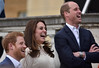 Prince Harry, Catherine, Duchess of Cambridge and Prince William, Duke of Cambridge laugh as they host a tea party in the grounds of Buckingham Palace to honour the children of those who have died serving in the armed forces on May 13, 2017 in London, England. (Photo by Andrew Parsons