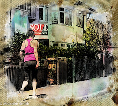 Sold (M C Smith) Tags: pink woman houses sign letters numbers pentax k3 pavement kerb fences bins green brown wooden trees black white red