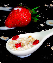 Breakfast (adrianstevejoseph) Tags: readyfortheday spoon milk oat strawberry macro closeup
