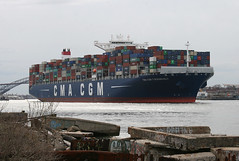 CMA CGM T ROOSEVELT in New York, USA. April, 2018 (Tom Turner - NYC) Tags: ship containership cargo cmacgm cmacgmroosevelt kvk killvankull water waterway channel statenisland spot spotting tomturner bigapple nyc newyork unitedstates usa cmacgmtroosevelt marine maritime pony port harbor harbour transport transportation