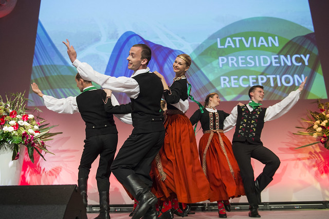Folk dancers performing at the Latvian Presidency Reception
