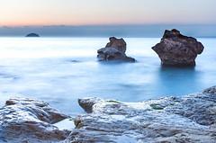 the roc (jaimeelkito2) Tags: villajoyosa alicante comunidadvalenciana efectoseda seda rocas amanecer roca nikon nikon7200 35mm nd cielo nubes naturaleza paisaje isla benidorm
