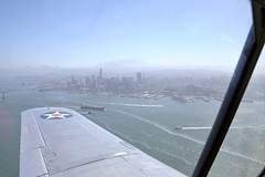 San Francisco by Air (Rich Snyder--Jetarazzi Photography) Tags: vultee bt13 bt13a valiant 4121218 n59842 annie flying inflight sanfrancisco california ca airplane aircraft warbird trainer basictrainer vulteevibrator
