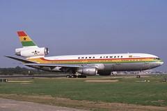 9G-ANA Gatwick 13-10-1985 (Plane Buddy) Tags: 9gana mcdonnell douglas dc10 ghana gatwick lgw