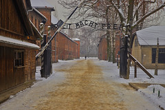 I cancelli dell'inferno / The gates of hell (Auschwitz concentration camp, Poland) (AndreaPucci) Tags: auschwitz concentrationcamp poland snow arbeitmachtfrei gate holocaust andreapucci