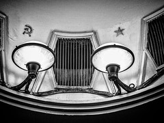 Shining a light on Soviet icons (Andy J Newman) Tags: om10 olympus silverefex russia ceiling sickle hammer 2018 metro monochrome stalin blackandwhite moscow april moskva ru