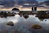 MOSTEIROS (Obikani) Tags: azores açores saomiguel portugal island mosteiros beach blacksand water reflections atlantic ocean seascape shoreline coastal coast sea rocks volcanic black sunset clouds light canonikos