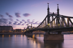 Liberty Bridge, Budapest (Sunny Herzinger) Tags: hungary fujixpro2 sunrise bridge travel danube szabadsághíd city liberty river europe budapest clouds hu gellert