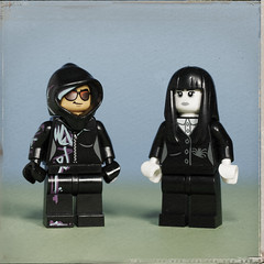 Wildstyle and Spooky Girl like each other's style (N.the.Kudzu) Tags: tabletop lego minifigures wildstyle gothgirl primelens canondslr canoneflens canon50mmf18 flash dxo