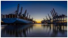 Containerhafen Hamburg (VintageLensLover) Tags: kran fe1635f4 longexposure langzeitbelichtung krananlagen sonnenuntergang sonya7ii containerhafen hafen hamburg