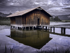 Old Boathouse (parkerbernd) Tags: old boathouse ancient wooden hopfensee lake hopfen allgaeu reflection clouds jetty alps mountains bavaria germany