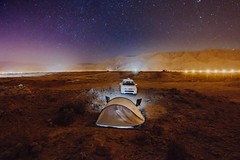 Fins Beach Campsite (dogslobber) Tags: yellow oman middle east omani arabia arab arabian peninsula fins beach campig camp site stars star night nighttime long exposure