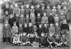 Class photo (theirhistory) Tags: children kids boys school class group form teacher coat jacket slate shorts shoes wellies jumper boots