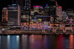 In the pink (JustAddVignette) Tags: australia circularquay cityscape landscapes longexposure newsouthwales night nightscape ocean seawater sydney water