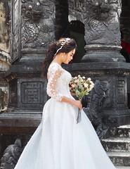 Shy bride (Hammerhead27) Tags: asian bouquet roses vietnam hue shy flowers beauty white wedding dress girl woman bride