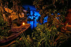The Quiet Bayou - EXPLORE (Matt Valeriote) Tags: hdr disneyland disney californiaadventure piratesofthecaribbean neworleanssquare bluebayou water night glow