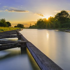 Sérénité - Serenity (olivier_kassel) Tags: canal ciel coucherdesoleil poselongue longexposure alsace basrhin schwindratzheim