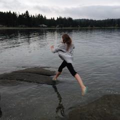 Just a hop... skip... and a jump at the ocean (Parksville Qualicum Beach) Tags: jump skip hop ocean beach vancouverisland bc canada
