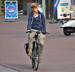 IMG_3367 (Skinny Guy Lover) Tags: outdoor guy man male dude hoodie hoodedsweater blond cyclist cycling bicycle candid