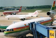 Boeing & MDC AT Dusseldorf (Gerry Rudman) Tags: ltu tunis air ghana airways mcdonnel douglas dc1030 9g ana dusseldorf boeing 767300 727200