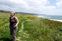 Catherine on a trail south of Pigeon Point lighthouse (ali eminov) Tags: california pacificcoast people women catherine