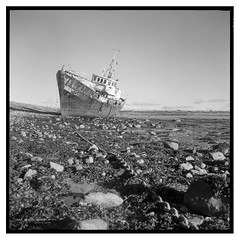 Rampside_TLR-4 (D_M_J) Tags: boat chain rampside roe island barrow barrowinfurness lake district lakedistrict lakeland cumbria north west uk england landscape sea beach shore film camera roll medium format square 6x6 120 tlr twin lens reflex yashica mat ilford delta 100 pro kodak hc110 epson v850 vuescan black white bw blackandwhite mono monochrome