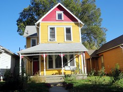 IMG_0961 (kennethkonica) Tags: architecture building canonpowershot canon indianapolis indiana indy usa midwest america hoosier random outdoor house home swing shadow oldhome yellow red