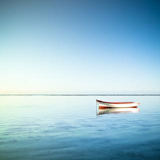 Sea, Boat, Sun in Mauritius Island