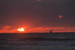 Oostende vissersboot (kiryeti) Tags: sunset belgium beach boat sea oostende ostend red fishing vissersboot