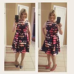 Pink or Navy metallic patent  heels ? (krislagreen) Tags: tg transcender tv transvestite floraldress cocktaildress hose heels highheels pumps metallic patent femme feminized feminization blond