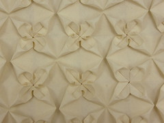 Wedge Flower Tessellation (close-up) (Michał Kosmulski) Tags: origami tessellation flower wedge triangle michałkosmulski awagamikozonaturalselectpaper white cream