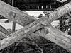 Nailed (Oleg Vrabie) Tags: nail cross wood sticks field old rotten blackwhite cracks
