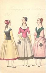 3 Borgerpiger af Balletten (Rigsarkivet - Danish National Archives) Tags: costumes drawing theatre aquarel teater kostumer kostumetegninger