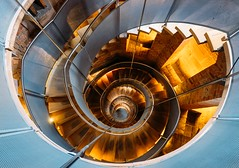 Glasgow, Scotland, UK – March 13, 2018: Famous helical staircase at the Lighthouse - the national centre of architecture and design in Glasgow, Scotland, United Kingdom. (CreativePhotoTeam.com) Tags: spiral staircase stairs stair architecture abstract interior circle building design round museum stairway structure pattern step swirl art perspective circular background case curve white construction old railing tower geometric golden lighthouse glasgow down mackintosh centre metal light charles rennie shape travel colored wood detail city tourism europe landmark united symmetry