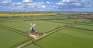 66742 passing North Leverton windmill - aerial