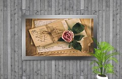 """Picture """"Rose and Letter 1"""" wall decor (Bigger * Picture) Tags: illustration picture biggerpicture frame painting wall walldecor home housing decor decorate decorating sl secondlife rose letter"""