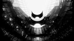 Batman HQ Building London by Simon Hadleigh-Sparks (Simon Hadleigh-Sparks) Tags: architecture city london iconic lookingup urban glass reflection office building bw blackandwhite contrast composition lines window monochrome pattern simonandhiscamera 360 black curve dark outdoor